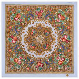 Весёлые деньки 1879-13, павлопосадский платок шерстяной  с осыпкой (оверлоком)