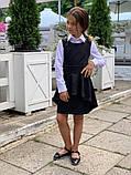 Модный детский сарафан,перфорация на баске,размеры:128,134,140.146., фото 3