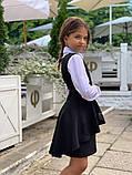 Модный детский сарафан,перфорация на баске,размеры:128,134,140.146., фото 4