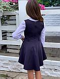 Модный детский сарафан,перфорация на баске,размеры:128,134,140.146., фото 5