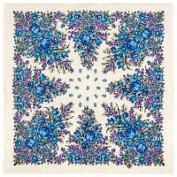 Мой садик 1878-2, павлопосадский платок шерстяной  с осыпкой (оверлоком)