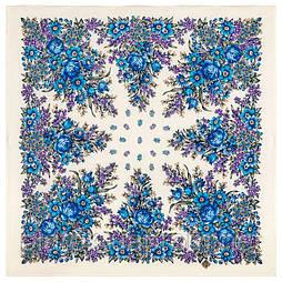Мой садик 1878-1, павлопосадский платок шерстяной  с осыпкой (оверлоком)