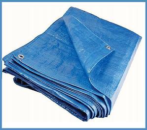 Тенты синие с кольцами плотность 100 г/м² (тарпаулин)