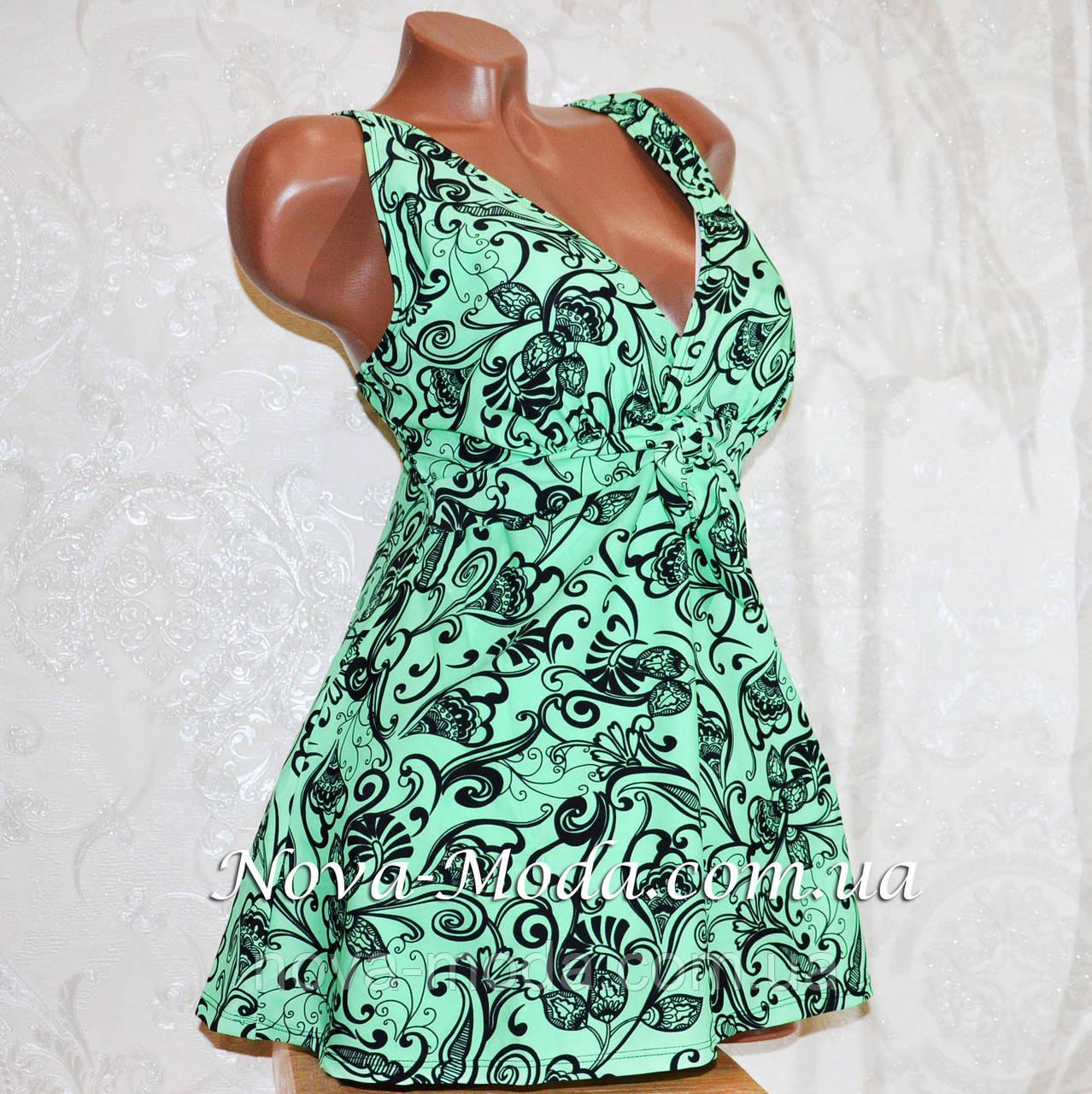 2b55ae09e0178 Зеленый купальник (платье) танкини, для больших форм, мягкая чашка, без  косточек