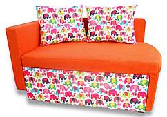 Диванчик Детский Шпех 70см (Слоники+оранж). Диван со спальным местом 2 метра