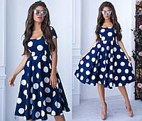 Женское платье в крупный горох - Темно-синий