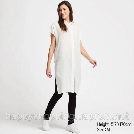 Женское белое льняное платье с карманами Uniqlo