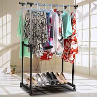 Стойка для одежды и обуви - Double Pole Clothes Horse, телескопическая