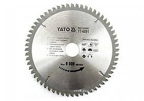 Диск пильный по алюминию YATO YT-6091 200 х 30 х 3.0 х 2.2 мм 60 зубцов R.P.M до 8000 1/мин