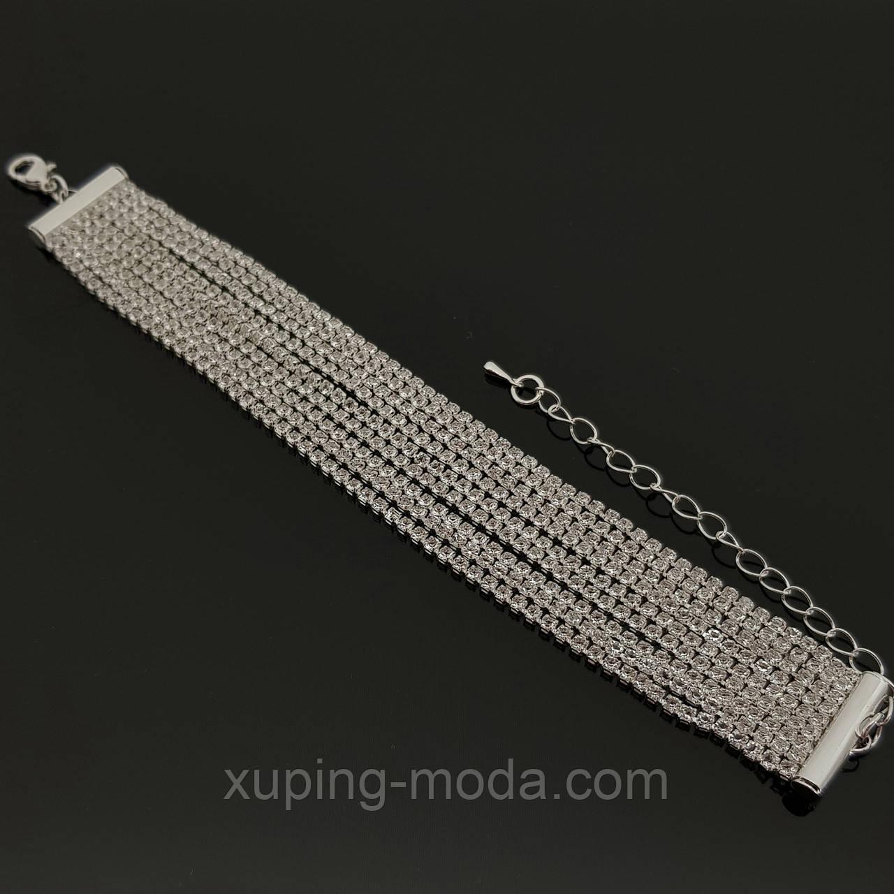 Элитный браслет с камнями, под серебро (9)