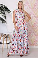 Красивое женское летнее платье приталенное в пол из притованной вискозы батал с 50 по 58 размер