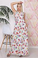 Женское летнее платье приталенное в пол с принтом орхидей батал с 50 по 58 размер