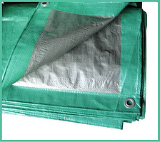 Тент 4х5 м. серо-зеленый с кольцами плотность 90  г/м² (тарпаулин)
