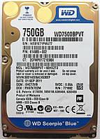 "Жесткий диск для ноутбука Western Digital Scorpio 750GB 5400rpm (WD7500BPVT) 2.5"" SATA-II Б/У на запчасти, фото 1"