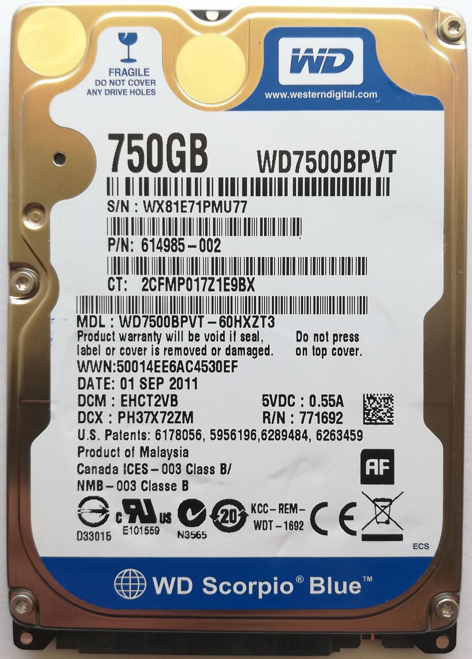 "Жесткий диск для ноутбука Western Digital Scorpio 750GB 5400rpm (WD7500BPVT) 2.5"" SATA-II Б/У на запчасти"