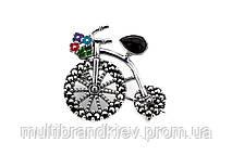 """Серебряная брошь-подвеска """"Велосипед"""""""