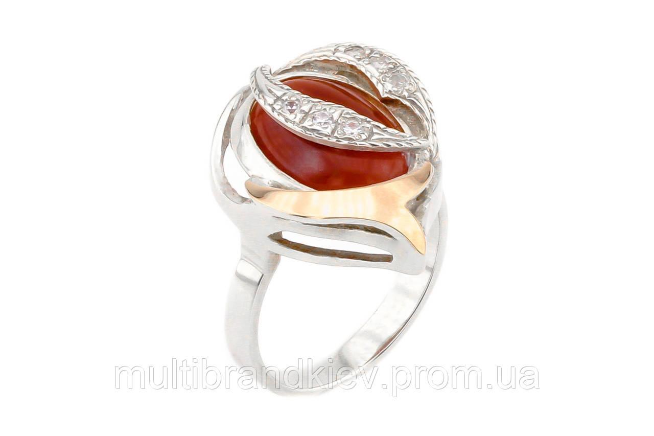 Серебряное кольцо с сердоликом (с золотыми накладками)