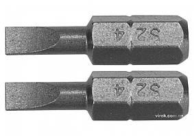 """Насадка отверточная YATO шлиц SL4 x 25 мм HEX 1/4"""" AISI S2 2 шт YT-77891"""