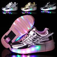 Роликовые кроссовки LED, светящиеся  Детские Хилисы. Хит 2019. Евро качество!