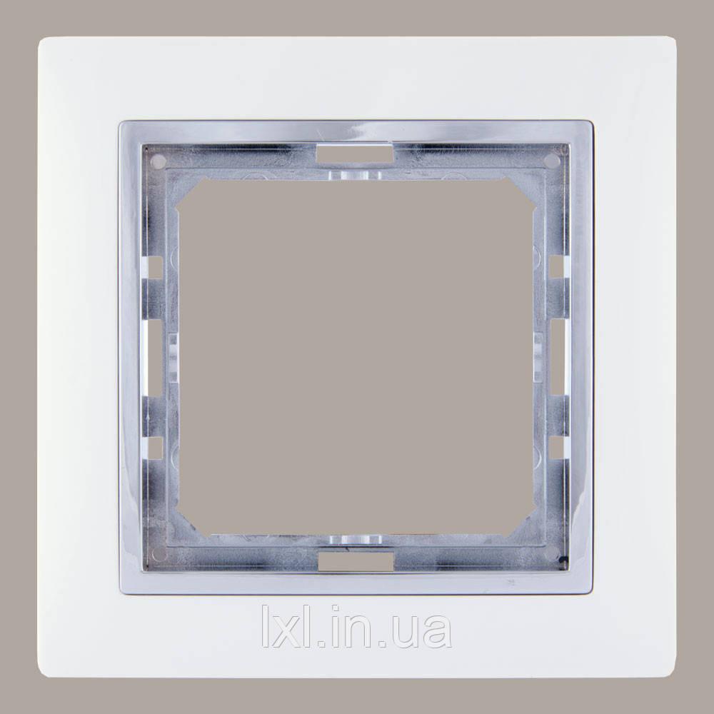 Рамка 1 місце білий/хром TESLA
