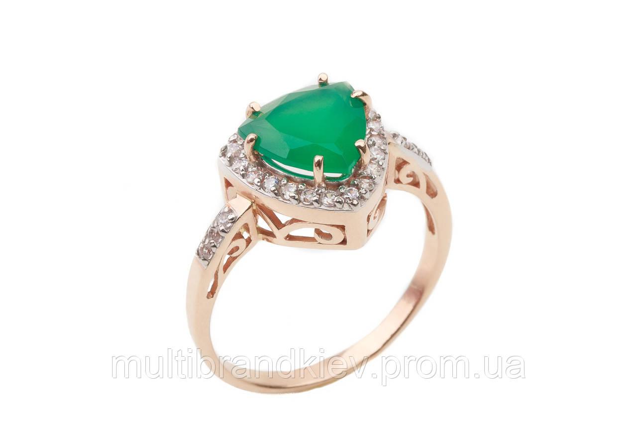 Золотое кольцо женское с зеленым кварцом 11903