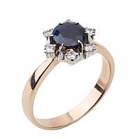 Золотое кольцо с сапфиром и фианитами