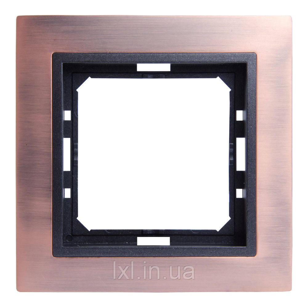 Рамка 1 место античная медь/графитовый металлик  TESLA  (материал металл)
