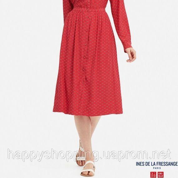 Женская красная миди  юбка в горошек Uniqlo