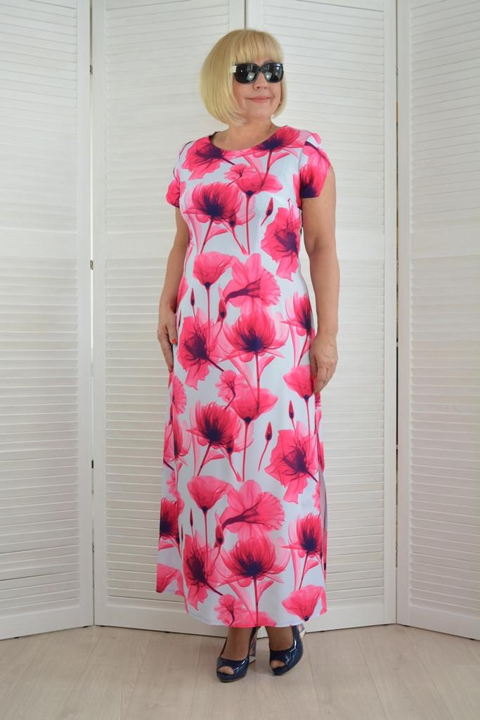 Платье макси шифоновое  - Модель 1491 - 50 размеры