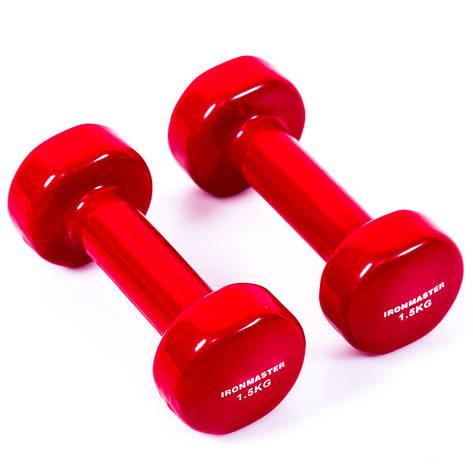 Гантели виниловые IronMaster 1.5 кг 2 шт красные, фото 2