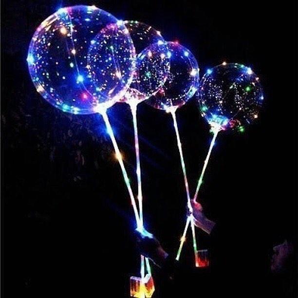 Светящийся LED шарик 45см  с палочкой