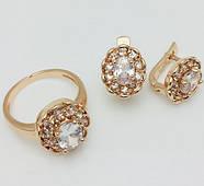 Набор Замечательный серьги+ кольцо размер кольца 17, 18, 19