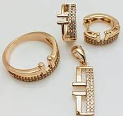 Набор серьги + кольцо+ кулон, размер кольца 16, 17, 19