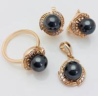 Набор Черный жемчуг серьги+ кольцо+ кулон кольца 17, 20