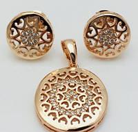 Набор Медальон, серьги гвоздики+ кулон