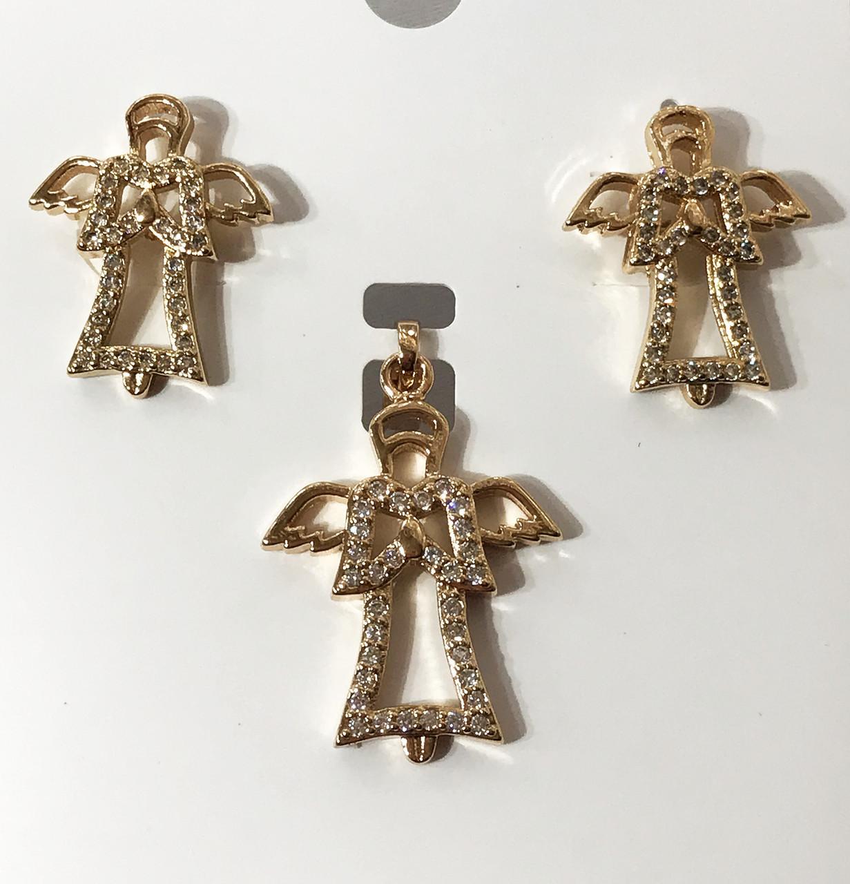 Набор Ангелочки, кулон В-32 мм Ш-18 мм серьги В-20 Ш- 15