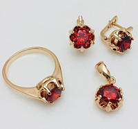 Набор Рубин серьги+ кольцо+ кулон размер кольца 17, 18, 19