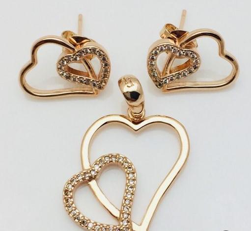 Набор Сердце, серьги гвоздики+ кулон