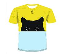 Яркая футболка Больших размеров XXXL 4XL рисунок Чёрный Кот