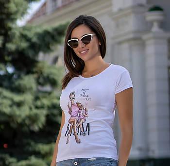/ Размер универсальный 42-46 / Женская молодежная футболка с рисунком Mama of Drama