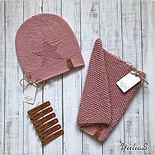 Демисезонный детский вязаный легкий набор шапочка  с узором, снуд ручной работы для девочки.