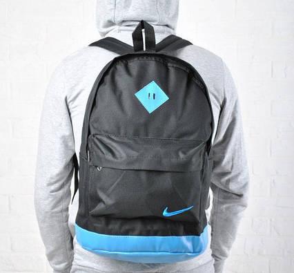 Рюкзак NIKE Найк унисекс с кожаным дном Черный с голубым Гродской спортивный Vsem