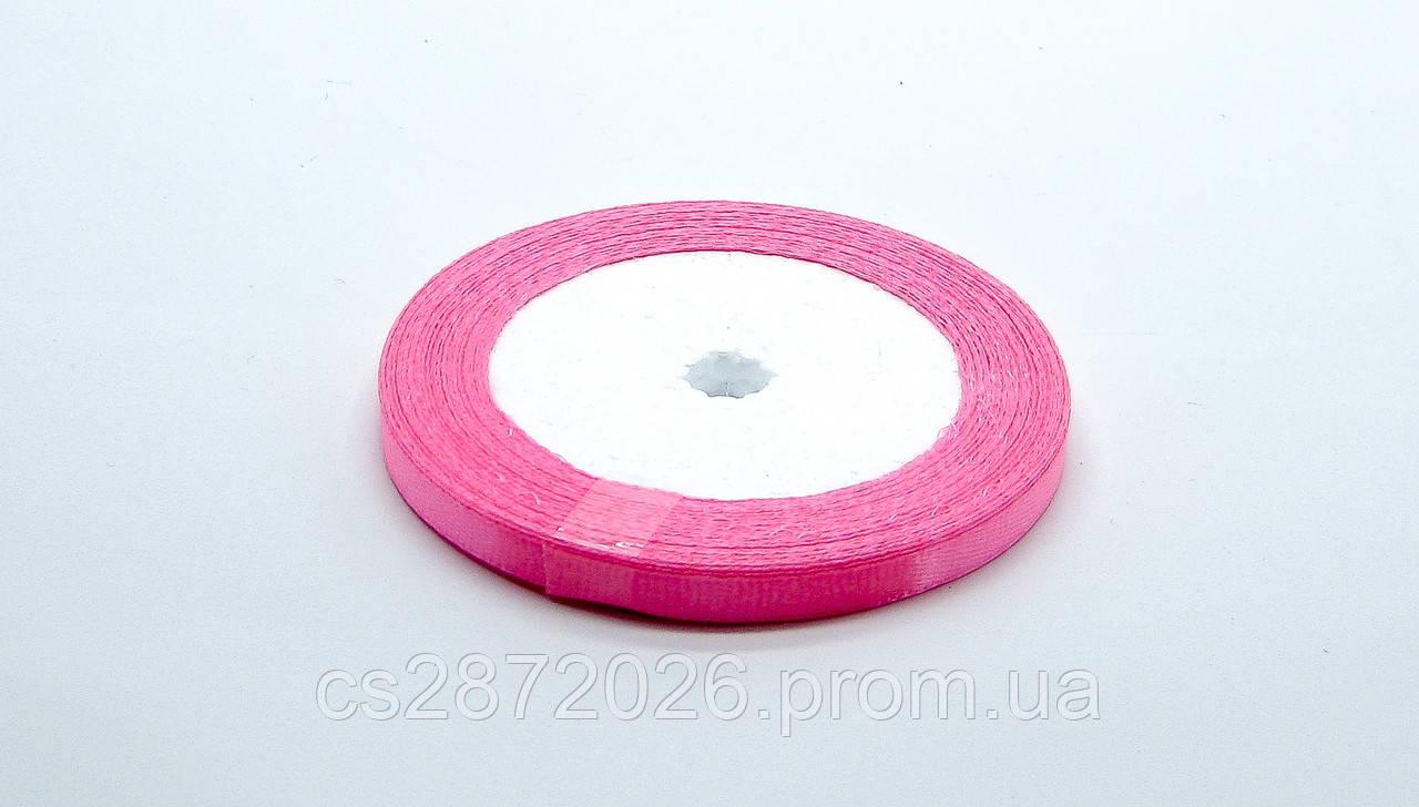 Лента атласная,темно розовая, 6 мм. (рулон 23 м)