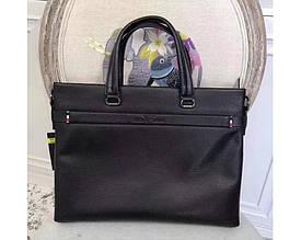 Мужская кожаная сумка в стиле Giorgio Armani black 3774-3