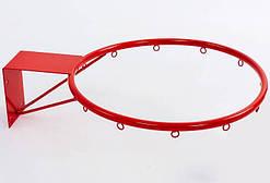 Баскетбольное металлическое кольцо (d кольца-40 см, d трубы-16 мм, металл), цвет - красный