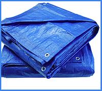 Тент 4х6 м. синий с кольцами плотность 100  г/м² (тарпаулин)
