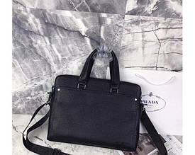 Мужская горизонтальная сумка на плечо в стиле Prada (6920-3) leather De Lux