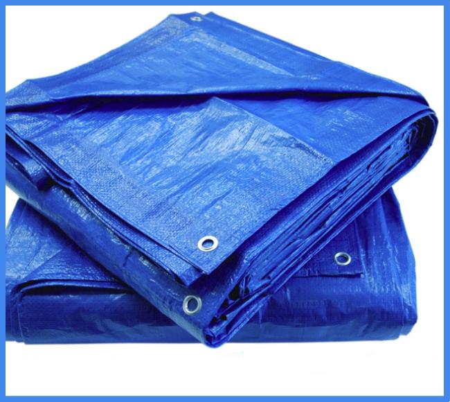Тент 6х8 м. синий с кольцами плотность 100  г/м² (тарпаулин)