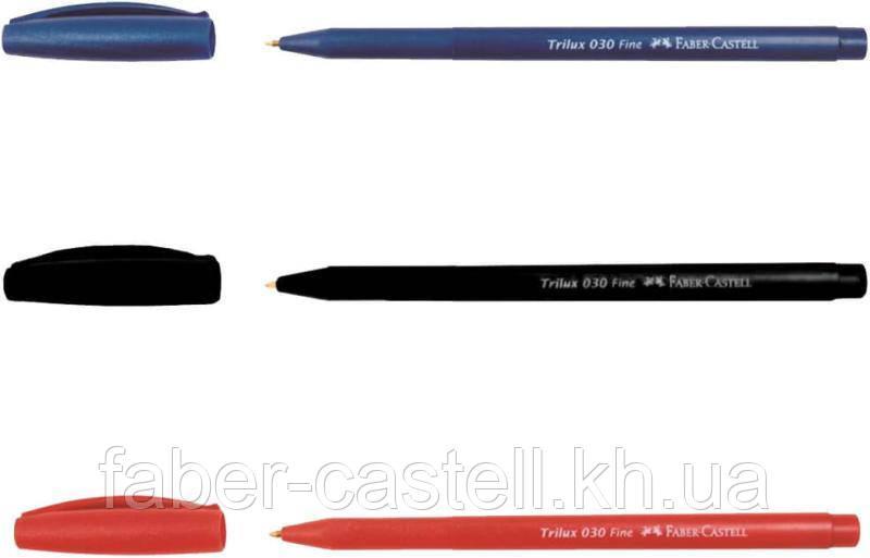 Шариковая ручка Faber-Castell TRILUX 030-F красная одноразовая 0.7 мм