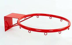 Кольцо баскетбольное металлическое (d кольца-30 см, d трубы-16 мм, металл), цвет - красный
